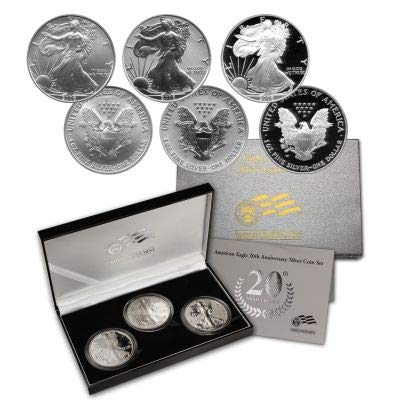 (2006 Various Mint Marks 20th Anniversary Silver Eagle 3 Coin Set 2016-W Silver Eagle 20th Anniversary Set 3 Coin W/Reverse Proof Proof )