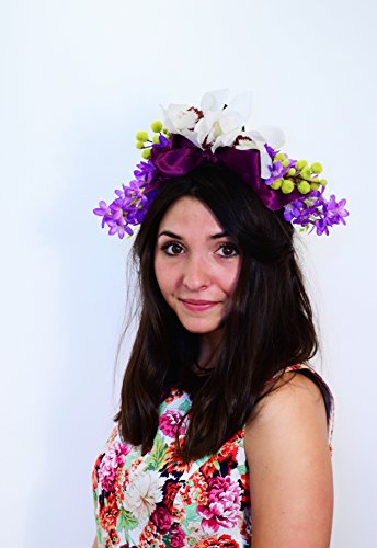 ''PARADISE '' FLORAL CROWN PURPLE ORCHID HEADPIECE by Millinery