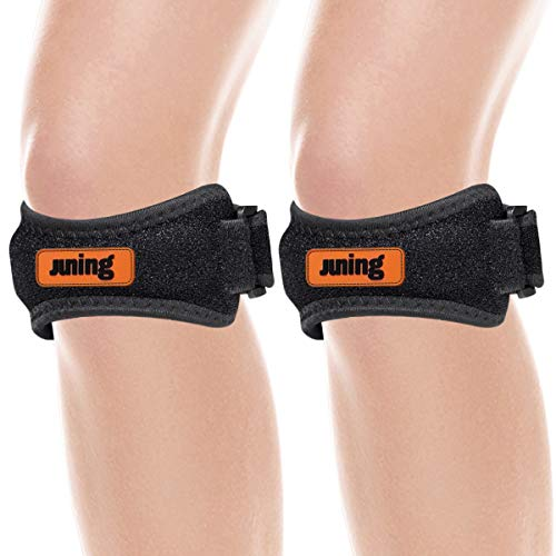 JUNING Knee Strap 2 Pack, Patella Strap for Knee Pain Relief, Knee Strap Brace Support for Hiking, Soccer, Basketball, Running, Jumpers Knee, Tennis,Tendonitis, Volleyball & Squats