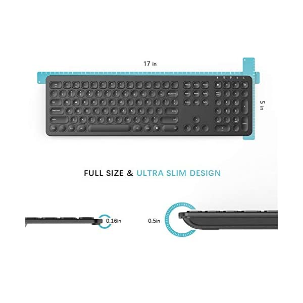 Rechargeable Wireless Keyboard Mouse, Jelly Comb KS037 Ergonomic Ultra Slim Full Size Metal Wireless Keyboard and Mouse…