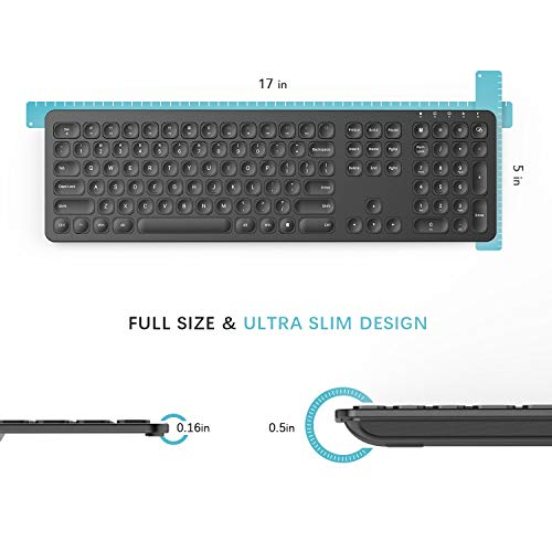 Rechargeable Wireless Keyboard Mouse, Jelly Comb KS037 Ergonomic Ultra Slim Full Size Metal Wireless Keyboard and Mouse Combo Set for Windows, Computer, Desktop, PC, Notebook, Laptop (Black)