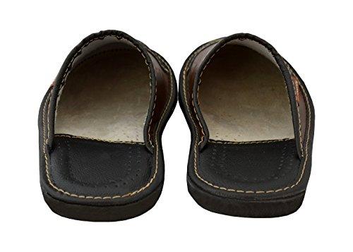 Nero marrone Ciabatte Casa Pantofole Mz02 Nero Pelle Mules Da Opzionale Uomo Becomfy Mi05 Modello Marrone Scatola qTzR6Uw