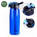 Water Filter Bottle 22oz  - Ezydigital BPA Filtered Water Bottle with 4-Stage Intergrated Filter Straw, Water Purification Bottle for Hiking, Camping, Backpacking, Travel and Emergency
