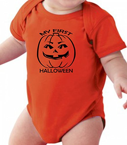Pumpkin My First Halloween - Funny Pumpkin FACE Baby Romper Onesie Unisex Warpped and Protected with A Clear Poly Bag (6-12 Months, Orange)
