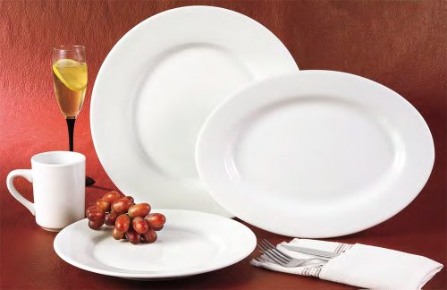 CAC China RCN-120 Clinton Rolled Edge 12-Inch Super White Porcelain Pasta Bowl, 26-Ounce, Box of 12 by CAC China (Image #1)