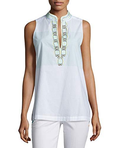 - Tory Burch Sleeveless Embroidered Tunic, Isla Collins Stripe Size 0