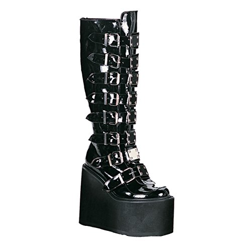Black Patent Gothic Boots Metal Buckles Straps 5 1/2 Inch Platform Knee High Size: 10