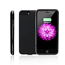 iPhone7/6/6s Plus Battery Case, Ultra Slim Extended Removable Battery Charging Case for iPhone 7/6/6s Plus (5.5 inch) with 5000mAh Real Capacity(Black)