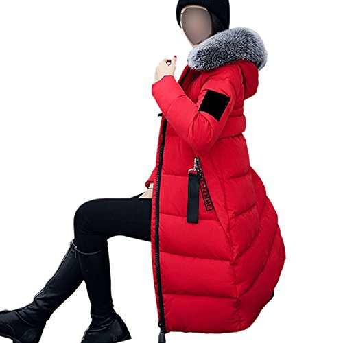 Hzjundasi sintetica giacca Rosso cappotto lungo parka con inverno cappuccio Outwear ragazze colletto pelliccia donne delle delle imbottito in rf8qr4