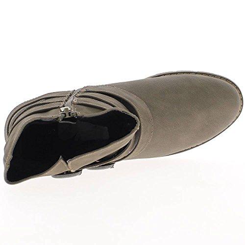 mujer doblada 3cm de de taupe tacón Botines twxIqR6pn