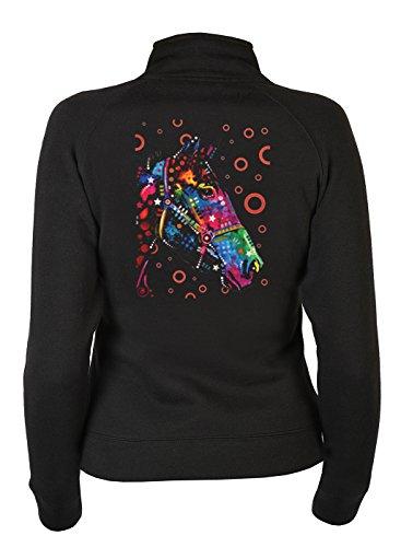 Pferde Zip Sweater Damen - Reitsport Neon Motiv Zip Pullover : Horse -- Sweatjacke Bekleidung Reiter Schwarz