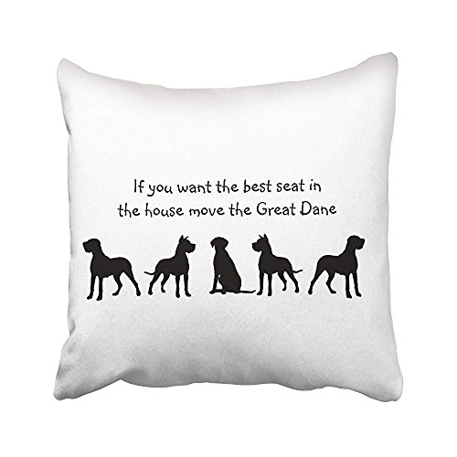 - Ashasds Black And White Great Dane Humor Best Seat In House Dog Silhouette Throw Pillow Covers For Home Indoor Friendly Comfortable Cushion Standard Size 18x18 In
