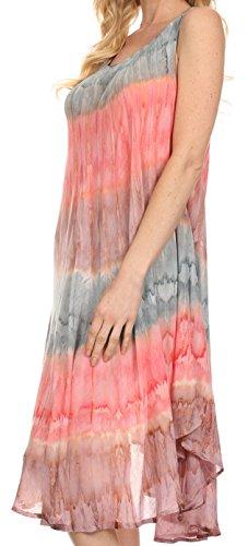 per le donna deserto o up del Grigio Coral sole caftano vestito cover Sakkas 4Tz8Hnv