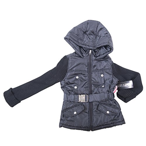 [397782-TypicalBlack-3T] Girl's Padded Jacket: Sweater Sleeves Coat with Hood (Viking Outfit)