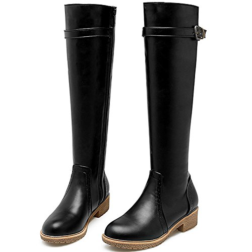 Casual BIGTREE High Zipper Women Riding Autumn Strap Boots Comfortable Boots Knee Flat Black Winter prqatwrU