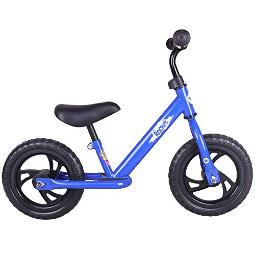 JOYSTAR 12″ Balance Bike for Boys & Girls 1 2 3 4 5 Years Old, Toddler Push Bike with Footboard & Handlebar Protect Pad, Blue