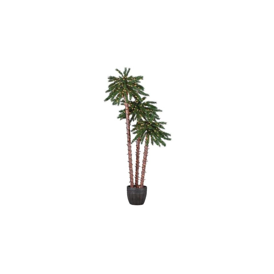 Sterling 5205 567c 5 Feet, 6 Feet and 7 Feet Pre Lit Potted Palm Tree Clear Light