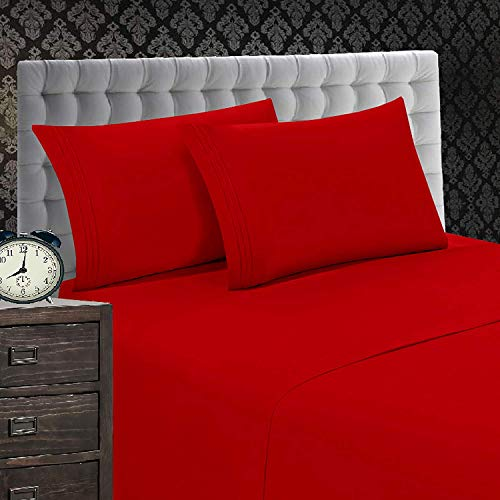 Elegant Comfort 1500 Thread Count Wrinkle & Fade Resistant 4-Piece Egyptian Quality Softness Bed Sheet Set, Deep Pocket Up to 16 and Colors, King Red