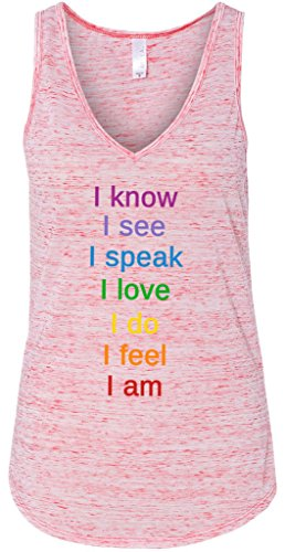 Yoga Clothing For You Ladies Chakra Words Flowy Tank Top, Large Red Marble
