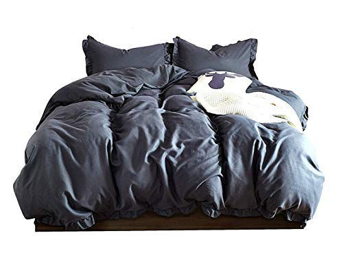 DuShow Solid Duvet Cover Set King Lace Lightweight Soft 3 Piece Bedding Set Hotel Collection Comforter Cover Set with Zipper Closure Dark Gray