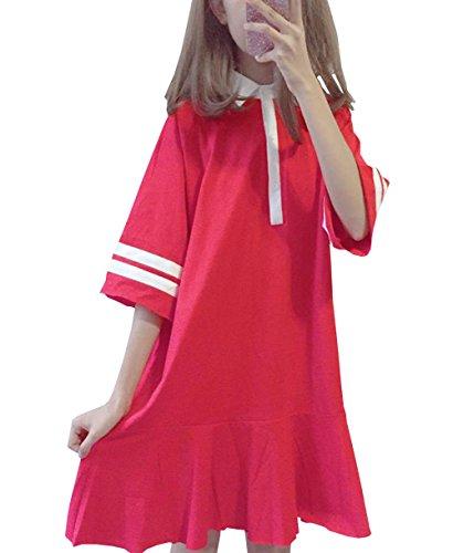 DuWei (ドゥウェイ) レディース テニスウェア polo領 Tシャツ 半袖ゲームシャツ ワンピース スポーツウェア 運動着 ゴルフウェア 体型カバー可愛い ジャージ カジュアル
