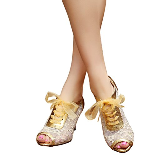 Bcln Dames Open Teen Sandalen Latin Salsa Tango Hakken Oefenen Stijldansen Dansschoenen Met 2,75 Hiel Goud