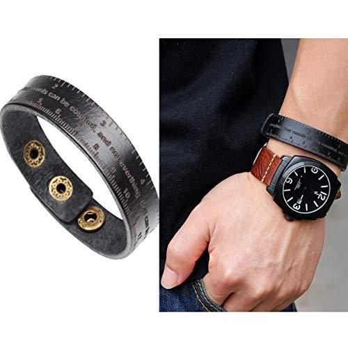 Hsumonre Black Ruler Leather Bracelet Engraved Unisex Genuine Leather Cuff Wrap Rope Wristban Brown Coffee