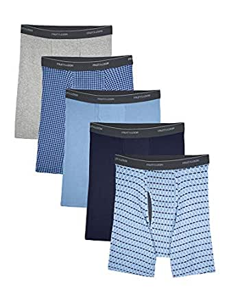 Fruit of the Loom Men's No Ride Up Boxer Brief, Argyle - Coolzone Fly Small