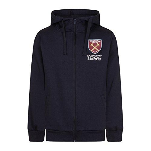 West Ham United Fc Official Soccer Gift Mens Fleece Zip Hoody Navy Large (West Ham Hoodie)