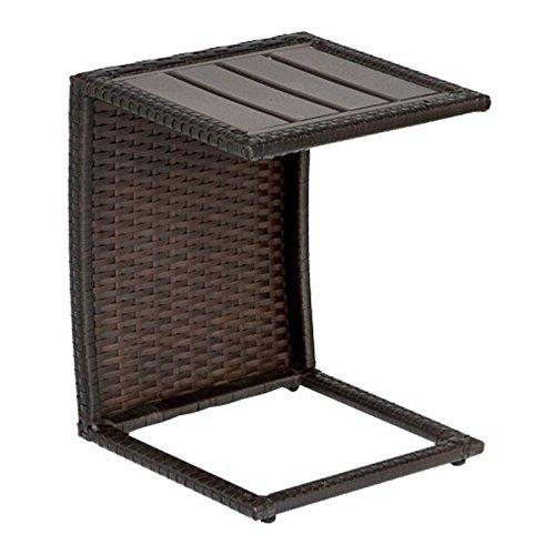 TKC Outdoor Wicker Side Table in Espresso