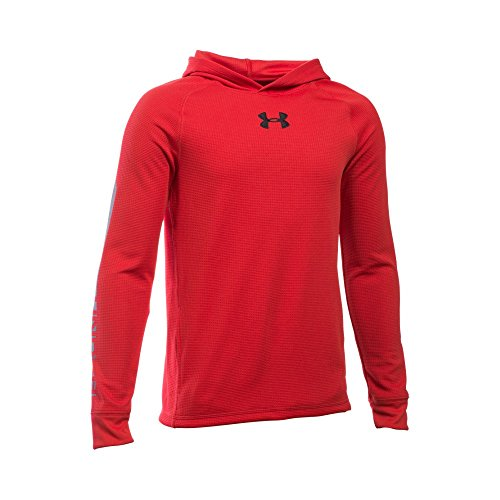 Under Armour Boys' Waffle Hoodie, Red/Graphite, Youth Small