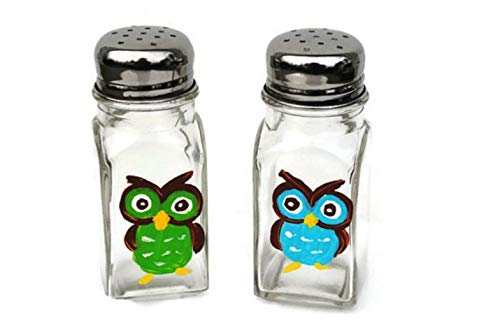 Owls Hand Painted Salt and Pepper Shakers Set