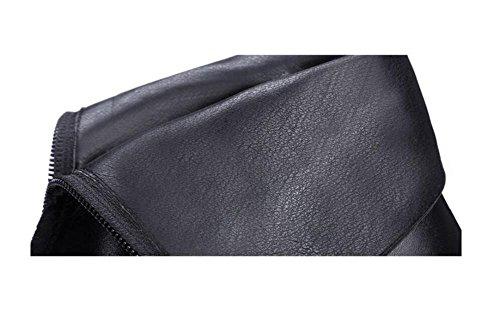 Autunno / inverno capo partito Dopo il Tacchi Zipper Nudo Chunky Stivali in pelle da donna Stivaletti Scarpe solido di colore , 35