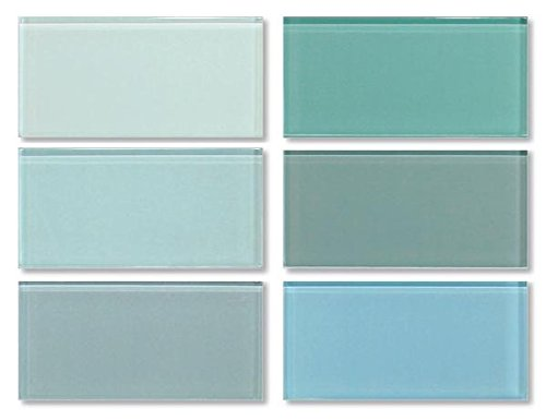 3x6 Glass Subway Tile Sample Combo Pack - Blues and Greens