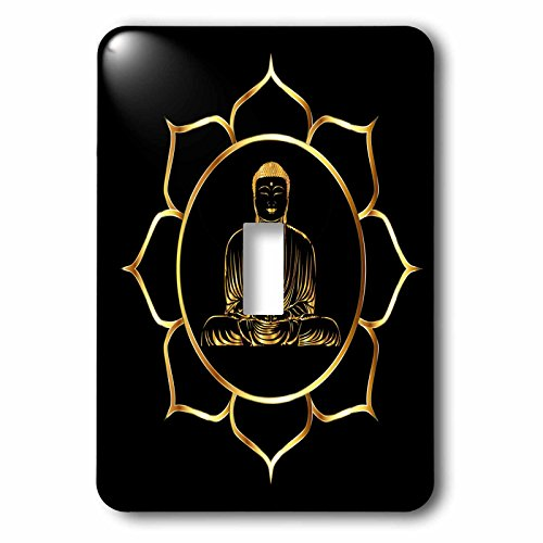 3dRose Sven Herkenrath Buddha - Buddha Asia Symbol Fantasy Thai Religion Spiritual Design Gold Black - Light Switch Covers - single toggle switch (lsp_254276_1) by 3dRose