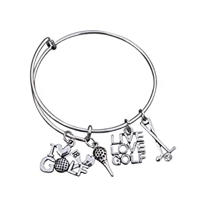 Golf Bracelet, Golf Jewelry- Golf Bangle Bracelet Perfect Gift for Girl Golf Players