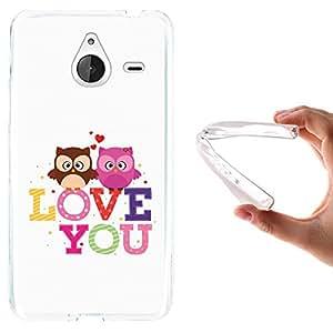 WoowCase - Funda Gel Flexible { Microsoft Lumia 640 XL } Buhos Corazón Frase - Love You Carcasa Case Silicona TPU Suave
