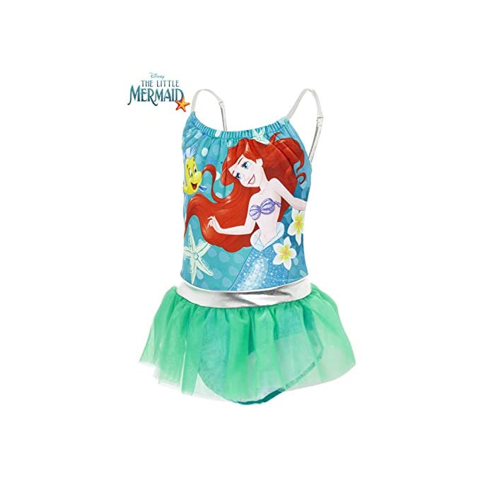 41eMwJFVpGL ? TRAJE DE BAÑO DE LAS PRINCESAS DISNEY --- Estos bonitos trajes de baño de las princesas Disney nos presenta a los personajes más populares de las famosas películas: La sirenita Ariel, Cinderella, Jasmine, Rapunzel, Blancanieves, Pocahontas, Bella, Mulan, Tiana y Mérida. Nuestro traje de baño para niñas está disponible en 2 diseños diferentes y en una amplia gama de tallas. ? 2 DISEÑOS PARA ELEGIR --- Nuestros trajes de baño para niñas están disponibles en 2 diseños, cada uno con detalles con volantes y tirantes finos. Elige entre nuestro traje de baño de la sirenita Ariel en color verde esmeralda o nuestro traje de baño con todas las princesas Disney en color rosa. Mezcla de poliéster