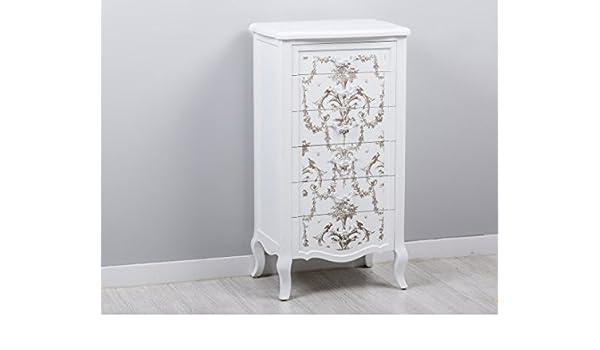 Supernova Decoracion 448061 Sinfonier con 6 cajones madera pino/mdf color blanco con unos bonitos dibujos en el frontal con un estilo frances idela para dormitorio o como mueble auxiliar .Medidas 48X35X95 CM: