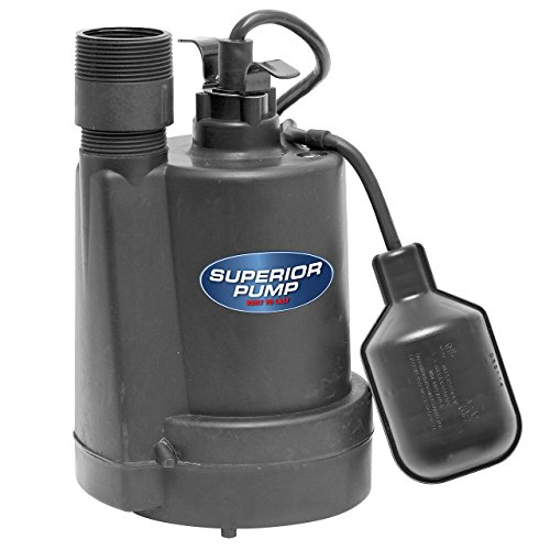 Superior Pump 92250 1/4-HP Thermoplastic Submersible Sump Pump with Tethered Float Switch (Renewed)