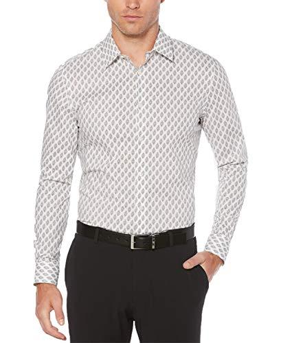 Perry Ellis Men's Long Sleeve Print Shirt, Bright White, Extra Extra Large ()