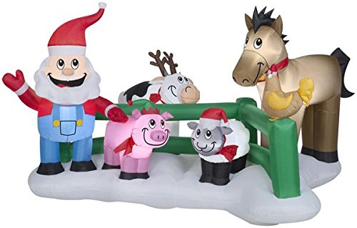 5' Airblown Santa Claus Farm Scene Christmas Inflatable