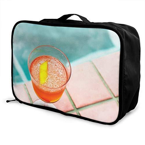 (OWZI Personalized Foldable Cube Travel Bag Fashion Lightweight Large Capacity Portable Luggage Bag (Clear Stemmed Glass with Orange Beverage),15