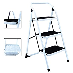 Idealchoiceproduct Portable Folding 3 Step Ladder Non Slip Safety Tread Stepladder Kitchen Home Use