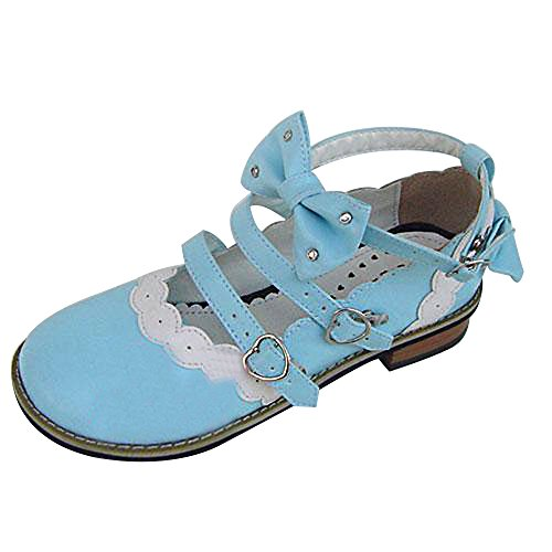 Shoes Blue Women's Mtxc Flat Crystal Lolita 8866 Bowknot rX1v0Xwx