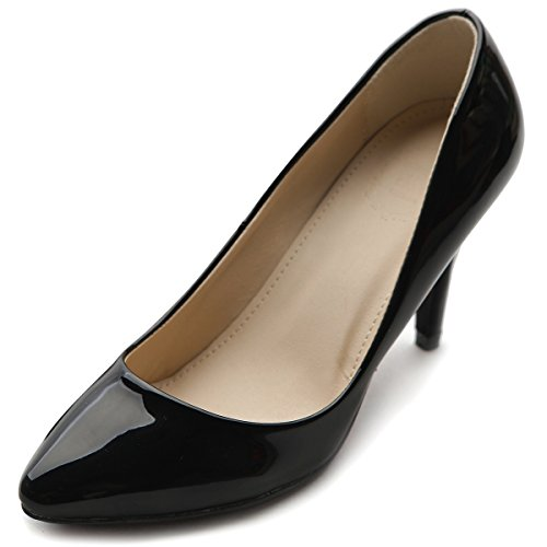 Toe Black Ollio Enamel Heel High Women's Shoe Pointed Stiletto Pump zqaW0fz