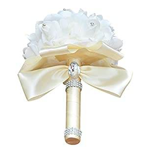 YJYDADA Wedding Bouquet,Crystal Roses Pearl Bridesmaid Wedding Bouquet Bridal Artificial Silk Flowers (Beige) 31