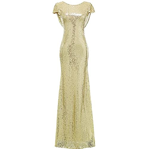 SOLOVEDRESS Womens Mermaid Sequined Long Evening Dress Formal Prom Gown Bridesmaid Dresses (US 8,Light Gold)