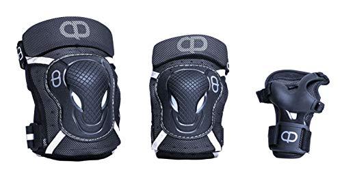 DA Deluxe Armour Teen/Adult Knee & Elbow pad with Wrist Guard (Black, Medium)
