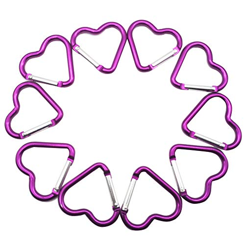 (McDoo! Set of 10 Aluminum Alloy Carabiners, Mini Purple Heart Shaped Buckles Spring Snap Clip Keychain)